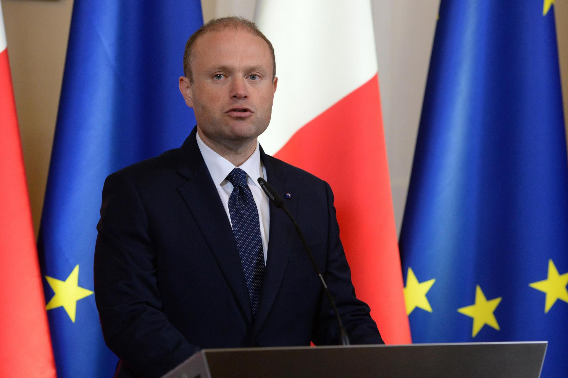 Former prime minister Joseph Muscat speaking at a press conference following Caruana Galizia's assassination. Fearne said he and Muscat did not discuss the murder in the ensuing months. Photo: Matthew Mirabelli