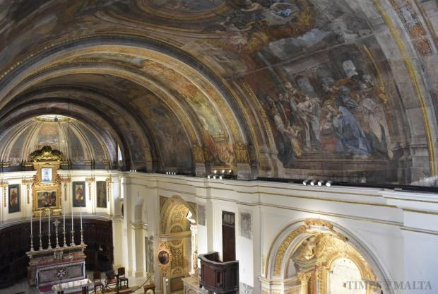 The full splendour of the ceiling of Our Lady of Victory Church in Valletta was exposed on 19 August after being concealed by a scaffolding two decades ago at the start of a conservation project. Din l-Art Helwa took over the project four years ago and completed the work. Photo Mark Zammit Cordina