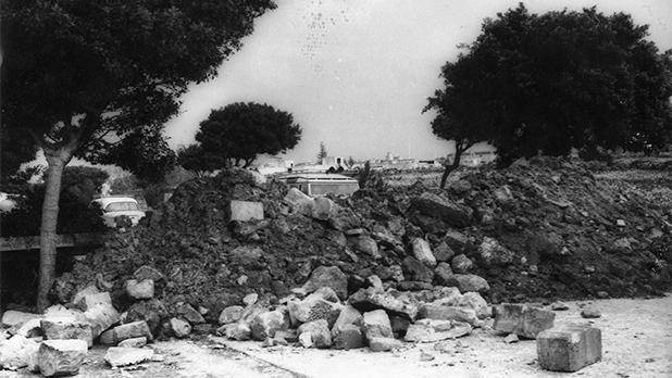 Walls were demolished to create barricades to block access to Zejtun.