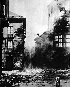The destruction of the Spanish town of Guernica by German Bombers, 1937.