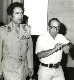 An enduring friendship... Libyan leader Muammar Gaddafi with then Prime Minister Dom Mintoff. Photo: Frank Attard