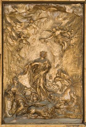 The Martyrdom of St Eustace wax bozzetto.