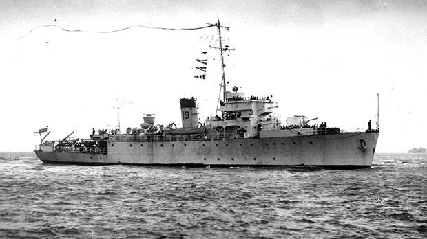 The minesweeper HMS Rinaldo clearing mines from the Adriatic, Ionian and Agean seas.