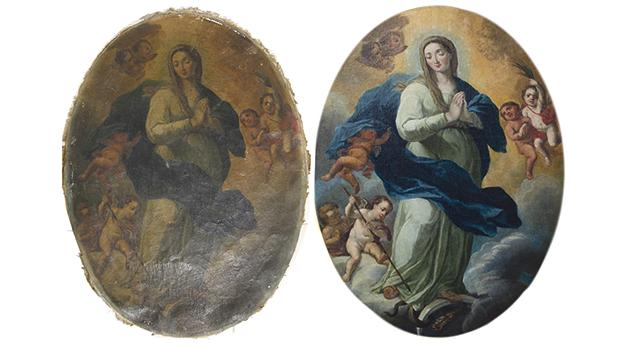 The painting of the Immaculate Conception before and after restoration.