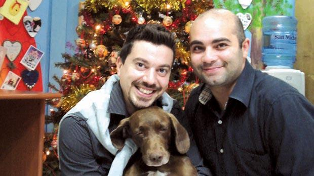 Moira with her new owners Charlot Cauchi and Adrian Cassar from Żejtun.