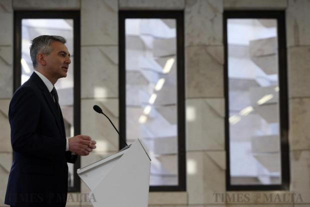 Opposition leader Simon Busuttil addresses a press conference at Parliament in Valletta on April 5, announcing a national protest against the government following the Panama Papers leak. Photo: Darrin Zammit Lupi