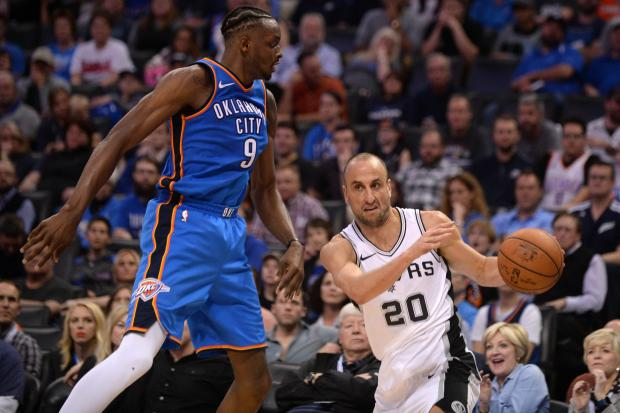 San Antonio Spurs guard Manu Ginobili (20) drives to the basket past Oklahoma City Thunder forward Jerami Grant (9) during the fourth quarter at Chesapeake Energy Arena. Photo Credit: Mark D. Smith-USA TODAY Sports