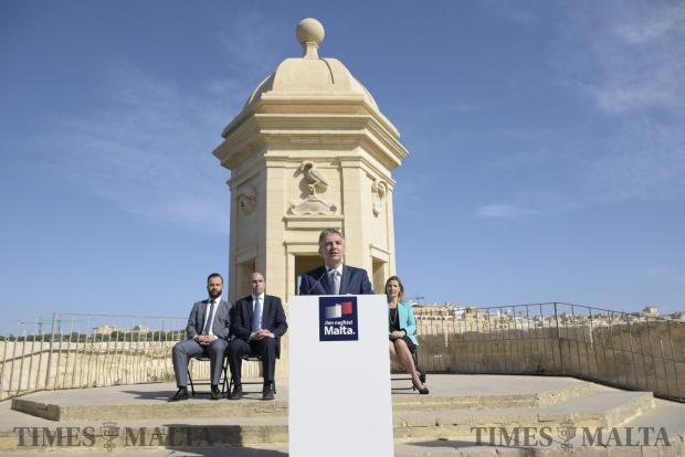 Opposition leader Simon Busuttil addresses a press conference at a public garden in Senglea on May 5. Photo: Mark Zammit Cordina
