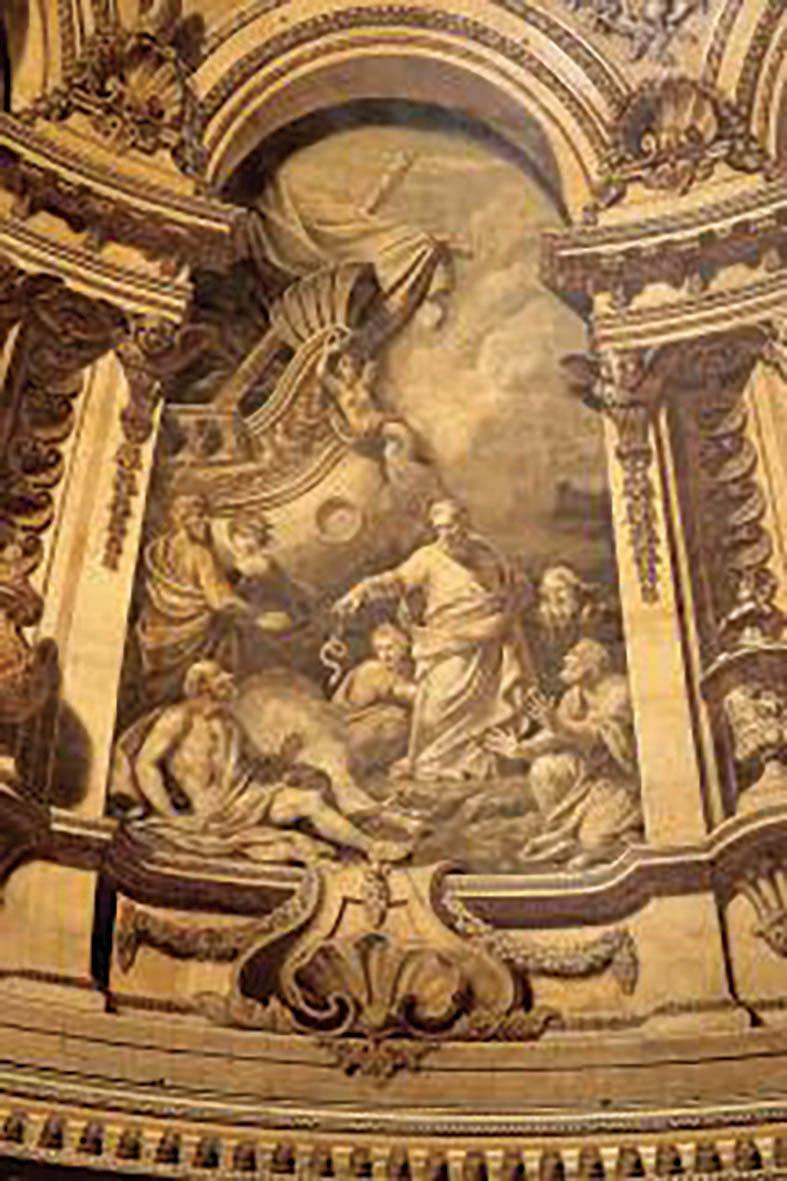 The painting by Thornhill of Paul Shipwrecked at Malta Casting the Viper out of the Fire in St Paul Cathedral's dome