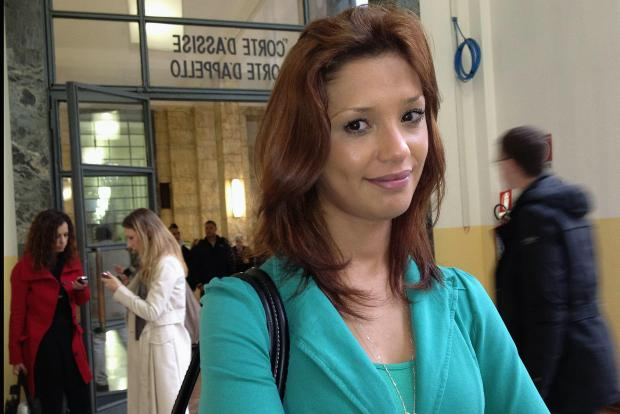 In this file photo taken in 2012, Moroccan model Imane Fadil arrives at Milan's court.