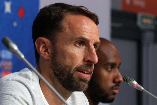 Gareth Southgate addressing the media during a news conference.
