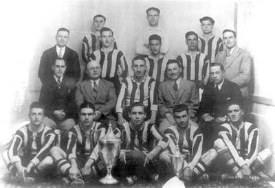 Sliema Wanderers 1933-34 Cassar Cup winners. Back row: Censu Friggieri, Joe Nicholl, J. Gauci. Standing: Pawlu Friggieri, C. Sammut, Kelinu Azzopardi. Sitting: Robbie DeCesare. Front row: Salvu Grima, Tony Nicholl, Salvu Sammut, Carmelo Cauchi, Brincat.