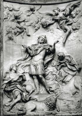 The Martyrdom of St Eustace in marble that is found in Rome.
