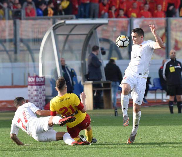 Valletta striker Albert Prosa takes the ball forward whilst Ryan Scicluna, of Birkirkara, is tackled During a football match at the Ta' Qali Stadium on February 25. PHOTO: MARK ZAMMIT CORDINA