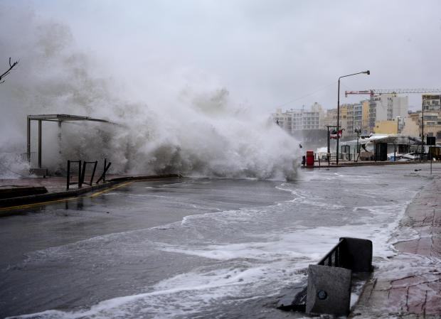 The seafront in Sliema and St Julian's was especially badly hit. Photo: Mark Zammit Cordina