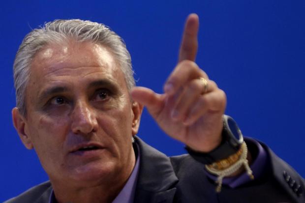 Brazilian national team head coach Tite attends a news conference in Rio de Janeiro, Brazil.