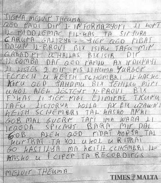 Theuma's handwritten letter.