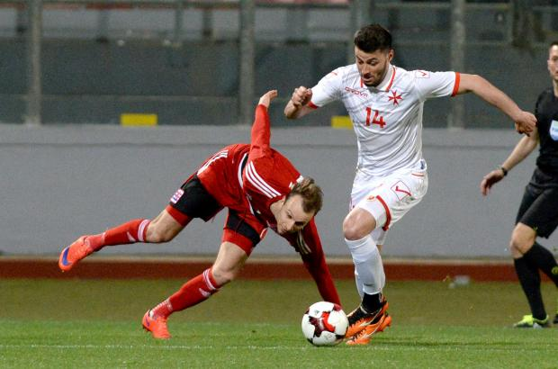 Jean Paul Farrugia in action for Malta against Luxembourg, last month. Photo: Matthew Mirabelli