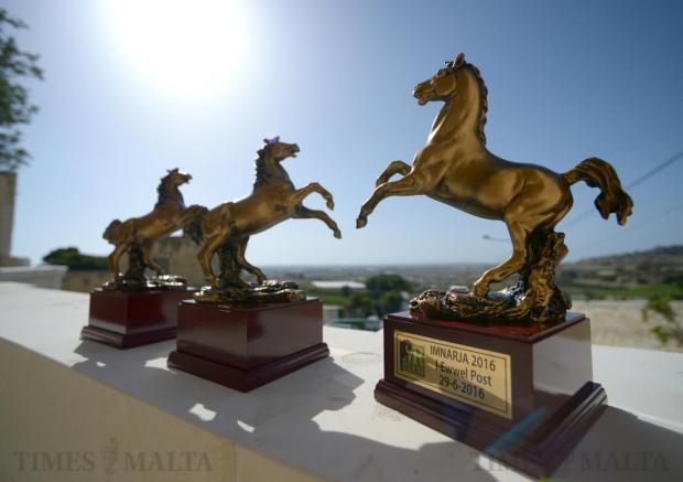 Trophies are displayed on the Saqqajja race stand (il-Loġġa tal-Palju) after being restored to its former glory in time for the traditional Mnarja horse races. The race stand, consisting of an arched grandstand and two flanking rooms, was built in 1696 to enable the grandmaster of the time to follow the races in comfort. The restored structure, which had for years been the victim of neglect and vandalism, was unveiled on June 28. Photo: Matthew Mirabelli