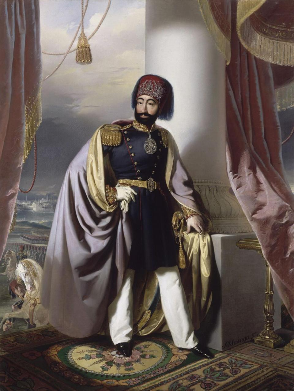 The Sultan of the Ottoman Empire, Mahmud II, as portrayed by Henry-Guillaume Schlesinger.