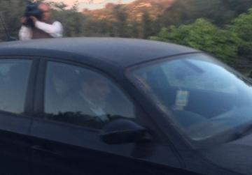 Dr Farrugia back in his car after his meeting with Dr Muscat. Photo: Mark Zammit Cordina