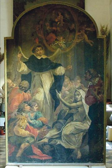 A painting by Francesco Zahra showing St Vincent performing miracles in the vestry of St Dominic parish church, Valletta.