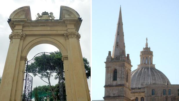 Arch at King George V Gardens, Floriana. Right: Belfry and dome. Photos: Noel Caruana Scicluna