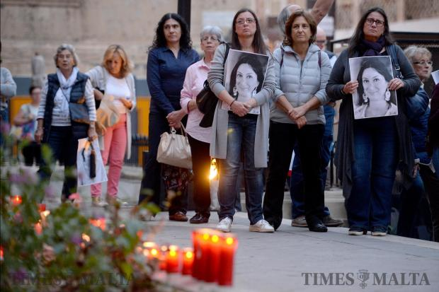 A memorial is held in Valletta on May 16, marking the seven months since blogger Daphne Caruana Galizia was brutally murdered outside her home last October. Photo: Matthew Mirabelli
