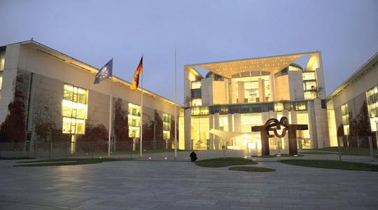 The German chancellery in Berlin after a suspicious package was discovered, yesterday. Photo: Odd Andersen/AFP