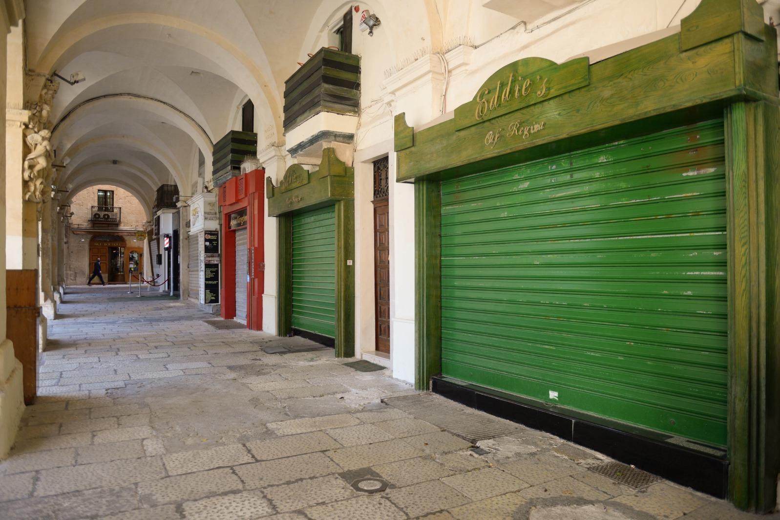 Valletta's quiet streets as non-essential shops are shuttered. Photo: Matthew Mirabelli