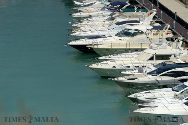 Cabin cruisers line the marina inside the Valletta Waterfront on August 9. Photo: Matthew Mirabelli