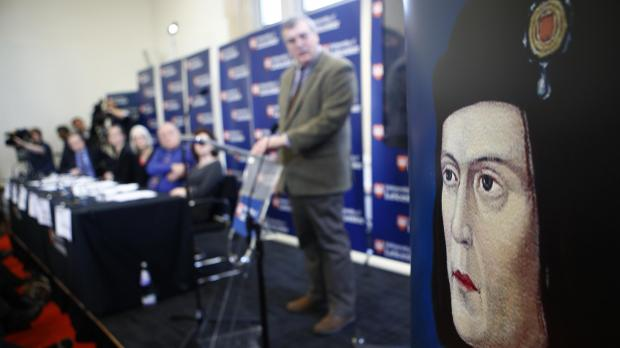 A portrait of King Richard III is seen during a news conference in Leicester.