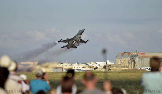A Belgian Air Force F-16 performs a touch and go at the Malta International Air Show on September 27. Photo: Mark Zammit Cordina
