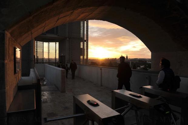 People use the Barrakka lift in Valletta at dusk on January 4. Photo: Chris Sant Fournier