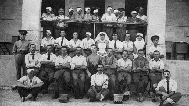 Patients and nurses at St George's Hospital, St Julian's.