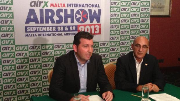 Joe Ciliberti (right),  President of the MAS and  John B. Matthews, Chairman of airX Charter during their press conference  at the Excelsior Hotel.