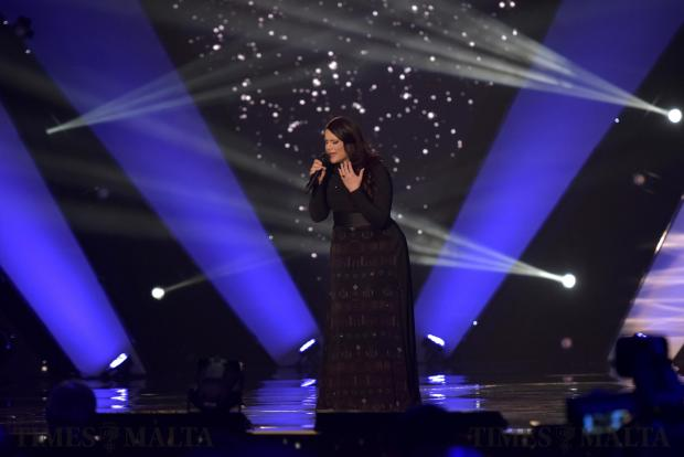 Malta Eurovision song contestant Janice Mangion performs her song at the MFCC in Ta'Qali on February 18. Photo: Mark Zammit Cordina.