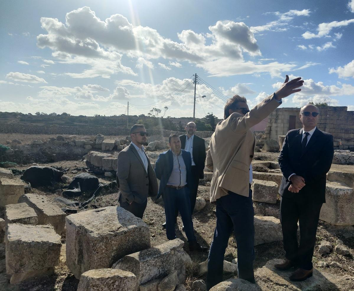 The discovery was announced during a site visit at Tas-Silġ by Heritage Minister José Herrera, Heritage Malta's chief executive officer Noel Zammit and Superintendent of Cultural Heritage Kurt Farrugia. Photo: Heritage Malta