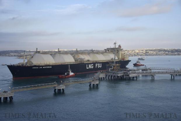The controversial LNG tanker Armada Meditterana arrives at Delimara on October 10. Photo: Mark Zammit Cordina