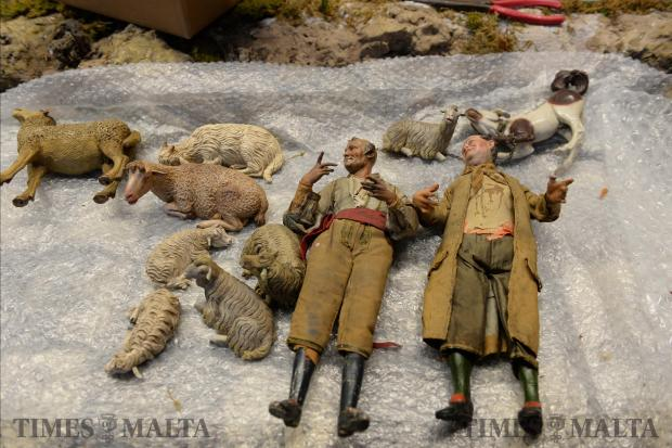 Traditional Neapolitan figures lay ready to be placed in a collection of 18th century crèche figurines on display at the Mdina Cathedral on November 29. Photo: Matthew Mirabelli