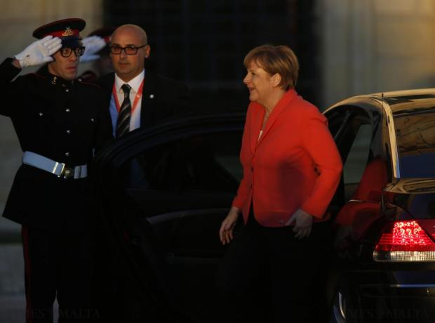German Chancellor Angela Merkel arrives at the office of Malta's Prime Minister Joseph Muscat for the start of the Valletta Summit on Migration in Valletta on November 11. Photo: Darrin Zammit Lupi