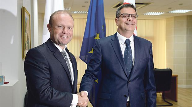 Joseph Muscat and Adrian Delia last Tuesday after their first meeting. Photo: Matthew Mirabelli