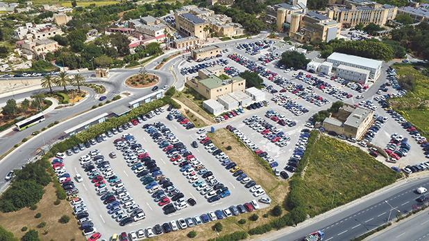 An aerial view of one of the parking areas at the University of Malta in Tal-Qroqq.