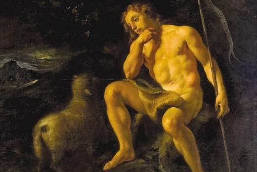 The St John the Baptist in The Wilderness oil painting.