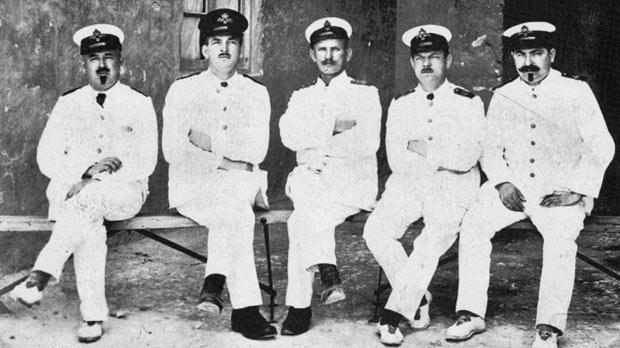 SMS Emden officers, possibly taken at Verdala prisoner of war camp. Photo: POW Theodore Kofler, 1916.