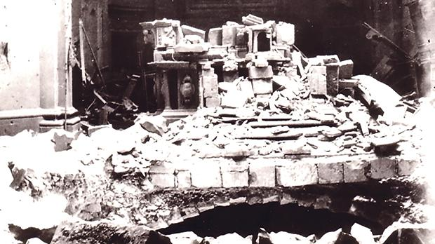 The main altar in ruins above the bombed crypt.