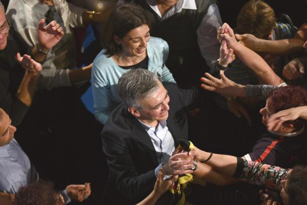 Nationalist Party leader Simon Busuttil is greeted by supporters during a rally at the PN headquarters on 2 May. Photo: Jonathan Borg