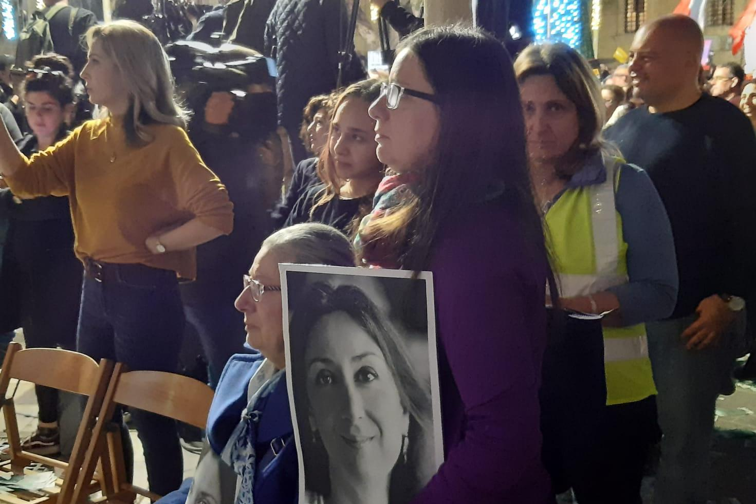 Daphne Caruana Galizia's mother and sister at the protest in Valletta on Sunday.