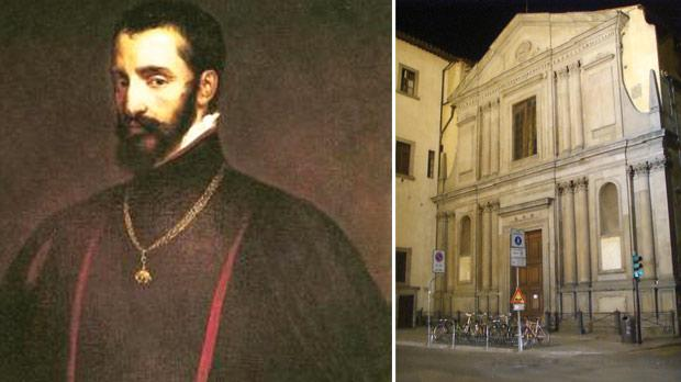 Portrait of Don Garzia de Toledo, the leader of the Gran Soccorso to Malta. Right: The church of San Giovannino degli Scolopi, in Florence, where Laura Battiferra is buried.