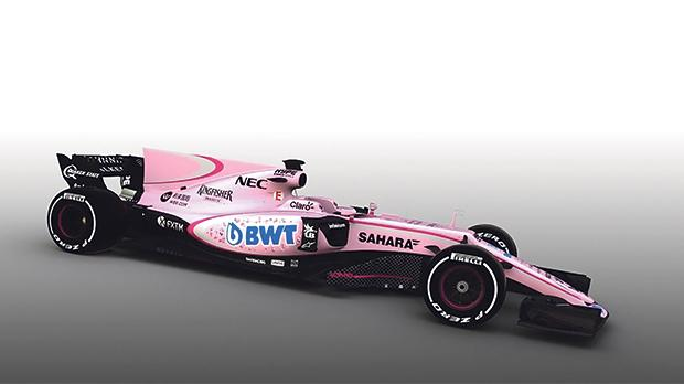 The new Force India, in shocking pink.